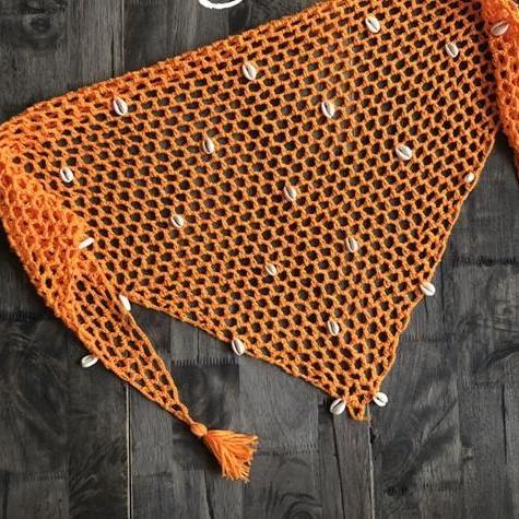 Mini paréo en maille pour femme orange