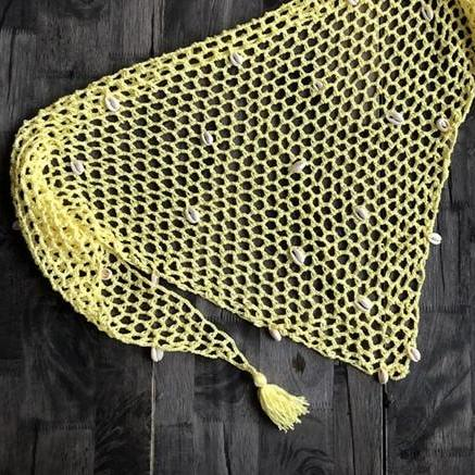Mini paréo en maille pour femme jaune
