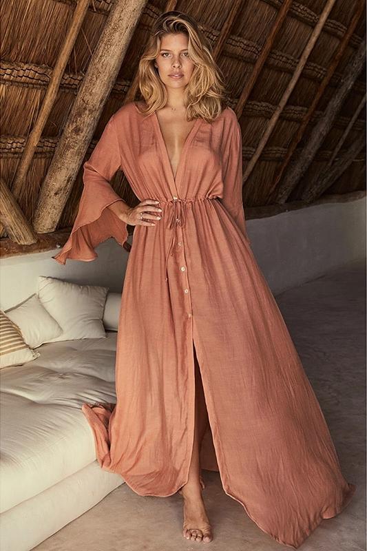 Robe paréo décolletée rose