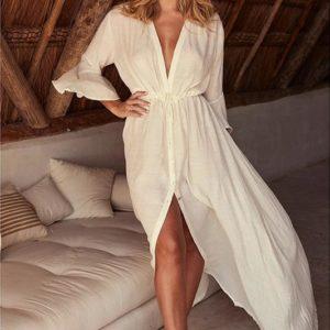 Robe paréo décolletée blanc