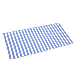 Serviette de plage en microfibre rayée bleu