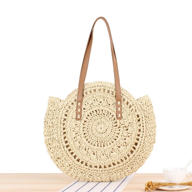 Sac Rond Paille Beige - Miss Pareo - La tendance du sac de plage en paille.